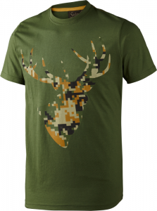 T-shirt Camo Stag Bottle green melange